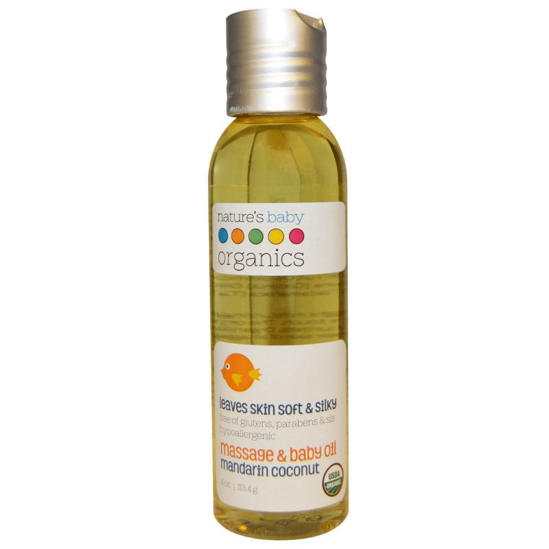 Nature's Baby Organics, Organic, Massage & Baby Oil, Mandarin Coconut, 4 oz (113.4 g)