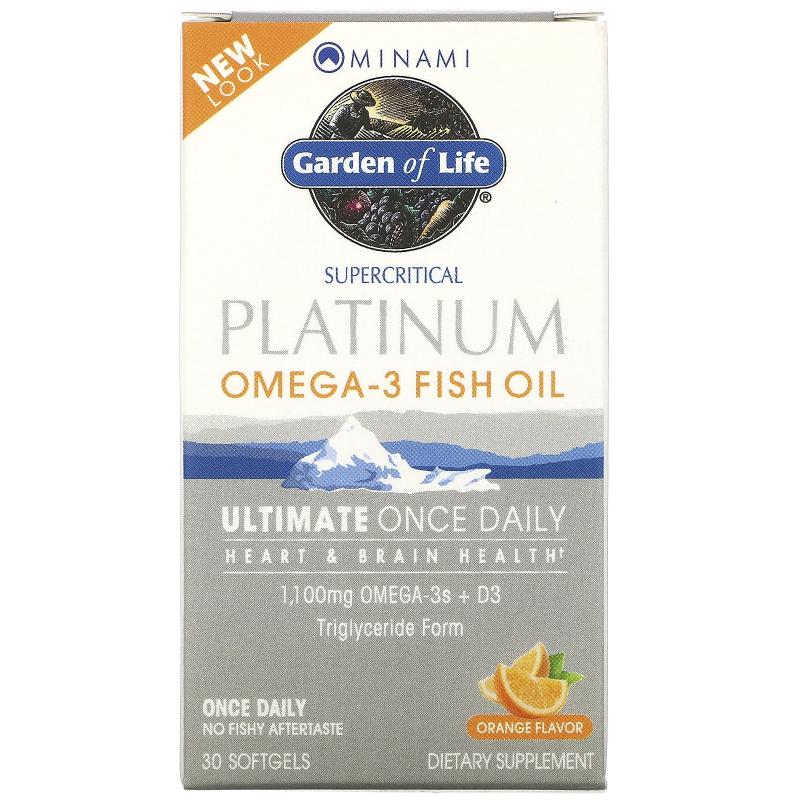 Minami Nutrition, Platinum, Omega-3 Fish Oil, Ultimate Once Daily, Orange Flavor, 30 Softgels