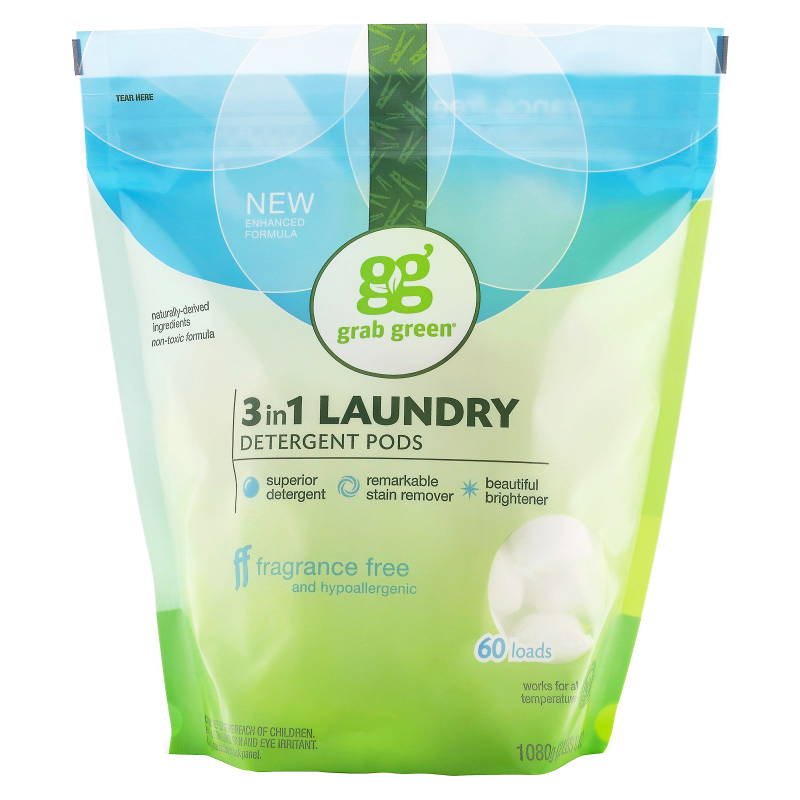 Grab Green, 3-in-1 Laundry Detergent Pods, Fragrance Free, 60 Loads, 2lbs, 6oz (1,080 g)