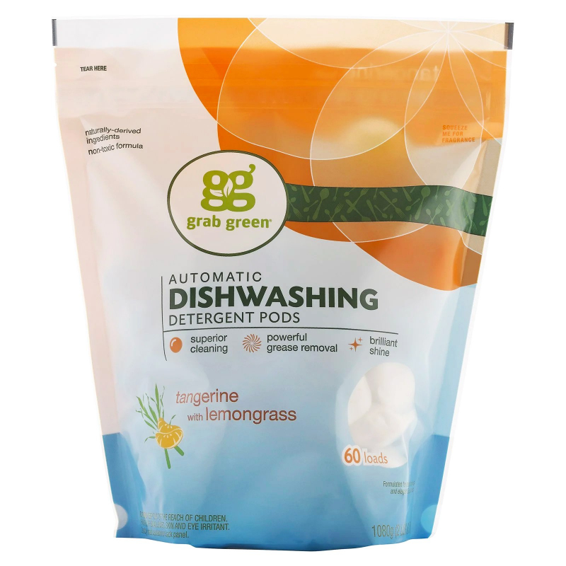 Grab Green, Automatic Dishwashing Detergent Pods, Tangerine with Lemongrass, 60 Loads, 2lbs, 6oz (1,080 g)