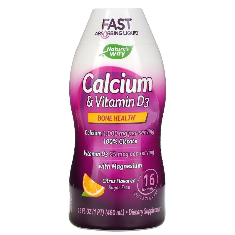 Wellesse Premium Liquid Supplements, Calcium & Vitamin D3, Sugar Free, Citrus Flavor, 16 fl oz (480 ml)