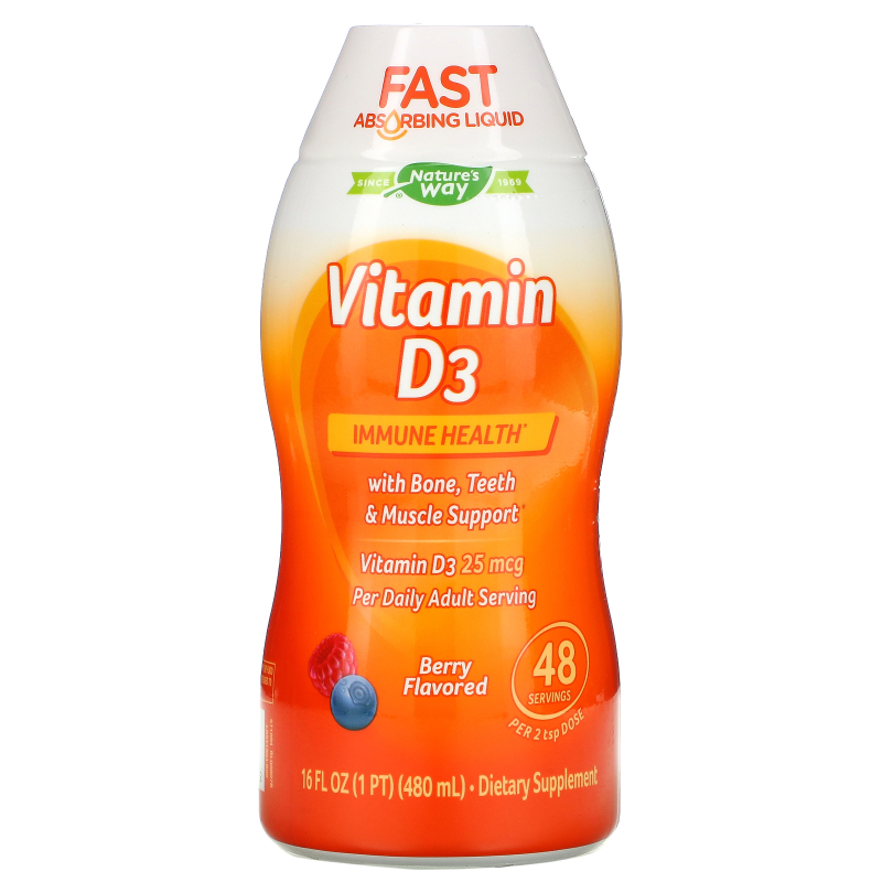 Wellesse Premium Liquid Supplements, Vitamin D3, Natural Berry Flavor, 1,000 IU, 16 fl oz (480 ml)