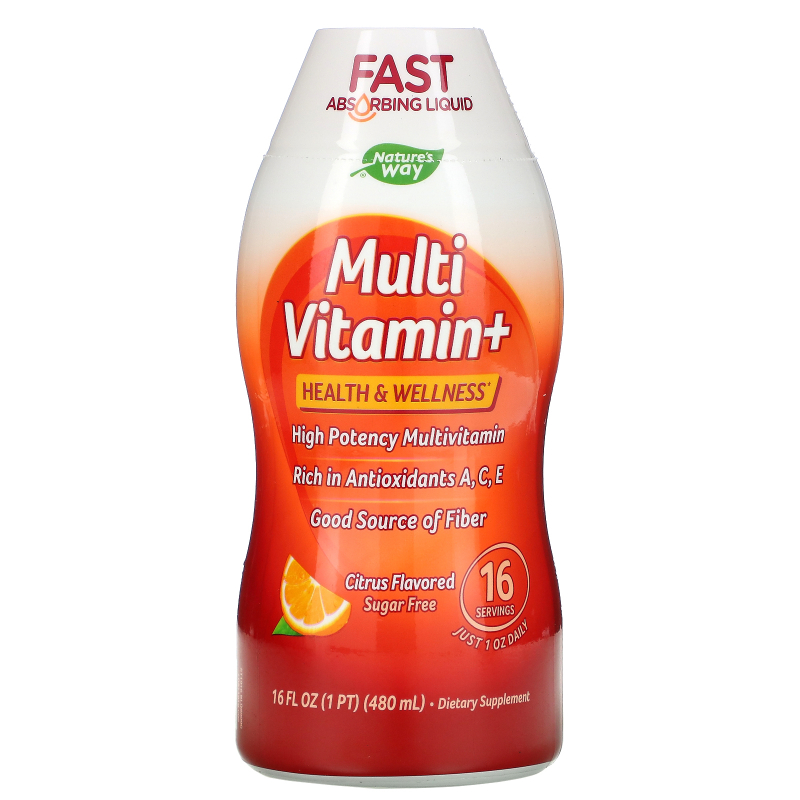 Wellesse Premium Liquid Supplements, Multi Vitamin+, Sugar Free, Natural Citrus Flavor, 16 fl oz (480 ml)