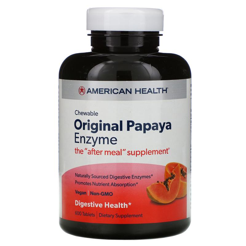 American Health, Original Papaya Enzyme, 600 Chewable Tablets