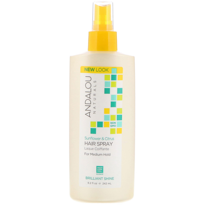 Andalou Naturals, Hair Spray, Brilliant Shine, Sunflower & Citrus, Medium Hold, 8.2 fl oz (242 ml)