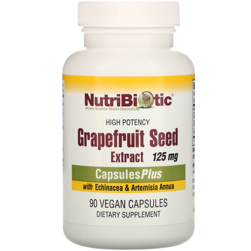NutriBiotic, Grapefruit Seed Extract, With Echinacea & Artemisia Annua, 125 mg, 90 Veggie Caps
