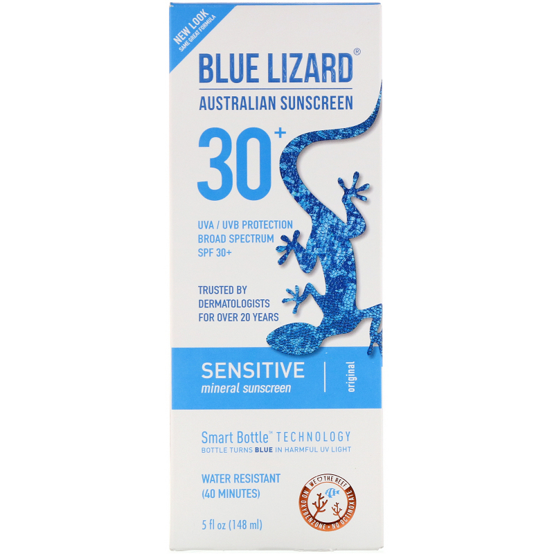 Blue Lizard Australian Sunscreen, Sensitive SPF 30+ Sunscreen, Fragrance Free, 5 fl oz (148 ml)