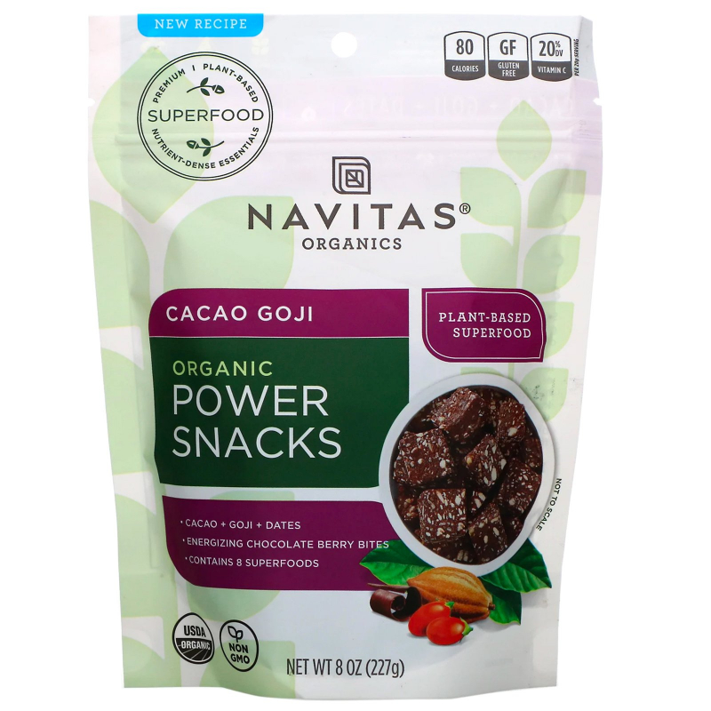 Navitas Organics, Organic, Power Snacks, Cacao Goji, 8 oz (227 g)