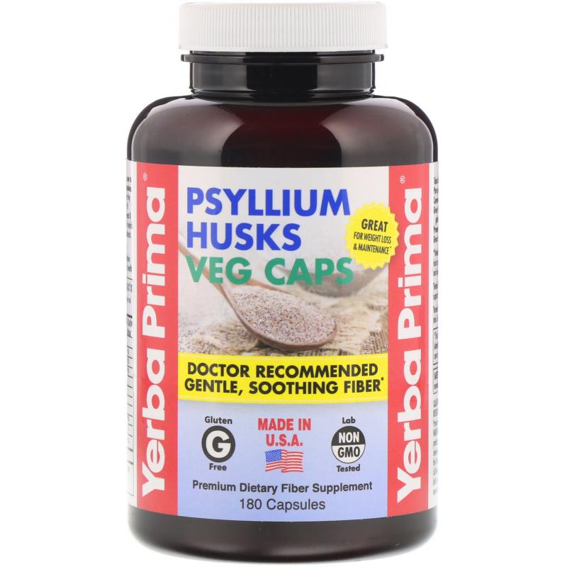 Yerba Prima, Psyllium Husks Veg Caps, 180 Capsules