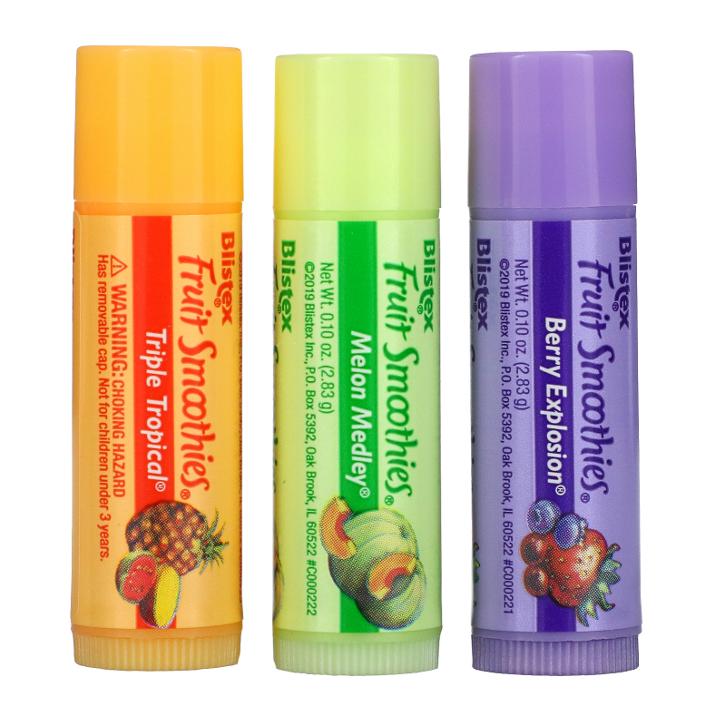 Blistex, Fruit Smoothies, Lip Protectant/Sunscreen, SPF 15, 3 Sticks, .10 oz (2.83 g) Each