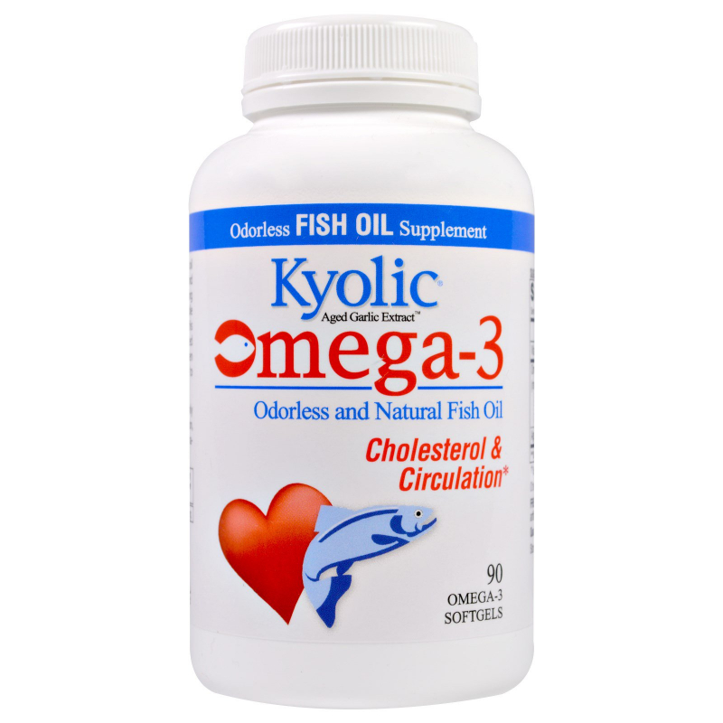 Kyolic, Omega-3, Aged Garlic Extract, Cholesterol & Circulation , 90 Omega-3 Softgels