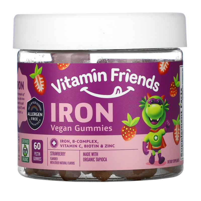 Vitamin Friends, Iron Vegan Gummies, Strawberry, 60 Pectin Gummies