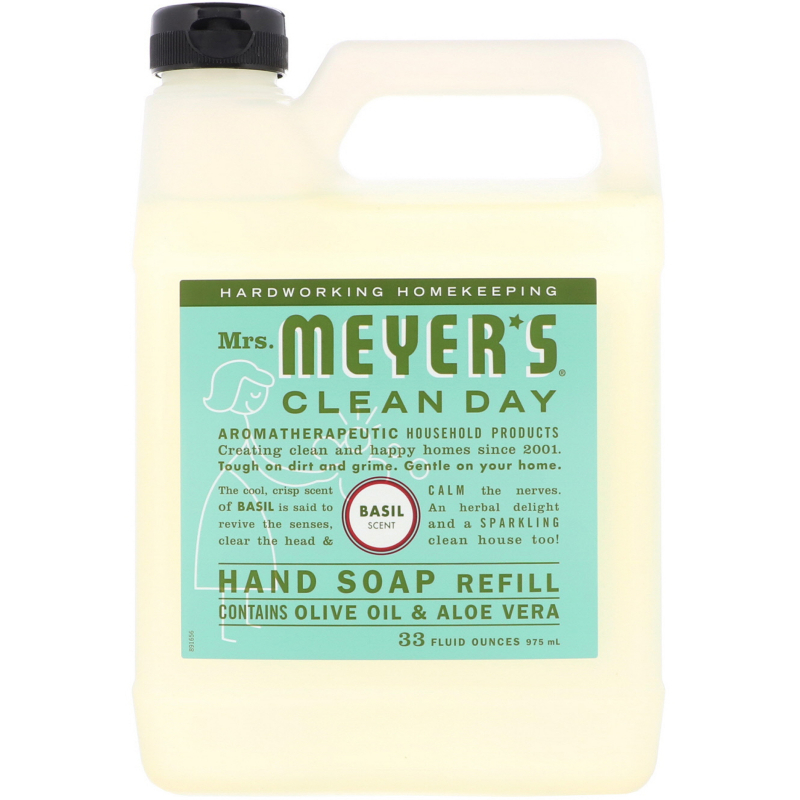 Mrs. Meyers Clean Day, Liquid Hand Soap Refill, Basil Scent, 33 fl oz (975 ml)