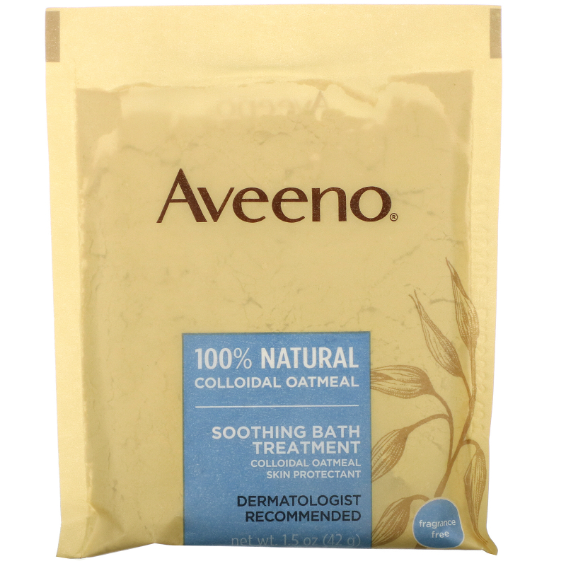Aveeno, Active Naturals, Soothing Bath Treatment, Fragrance Free, 8 Single Use Bath Packets ,1.5 oz (42 g) Each.