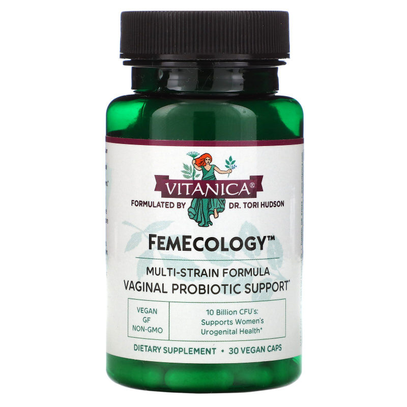 Vitanica, FemEcology, Vaginal/Intestinal Probiotic , 30 Vegetarian Capsules