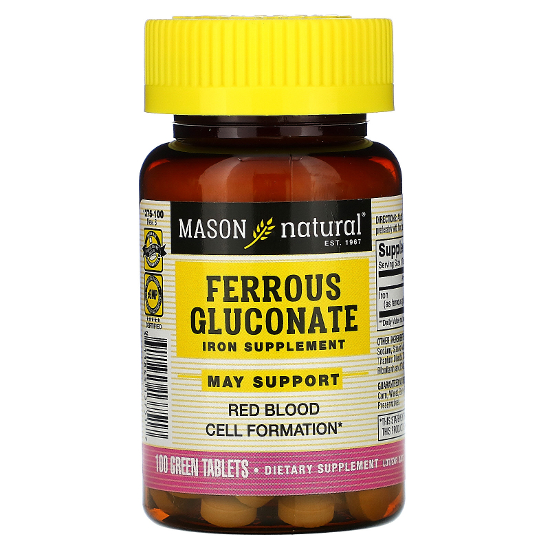 Mason Natural, Ferrous Gluconate, Iron, 100 Green Tablets