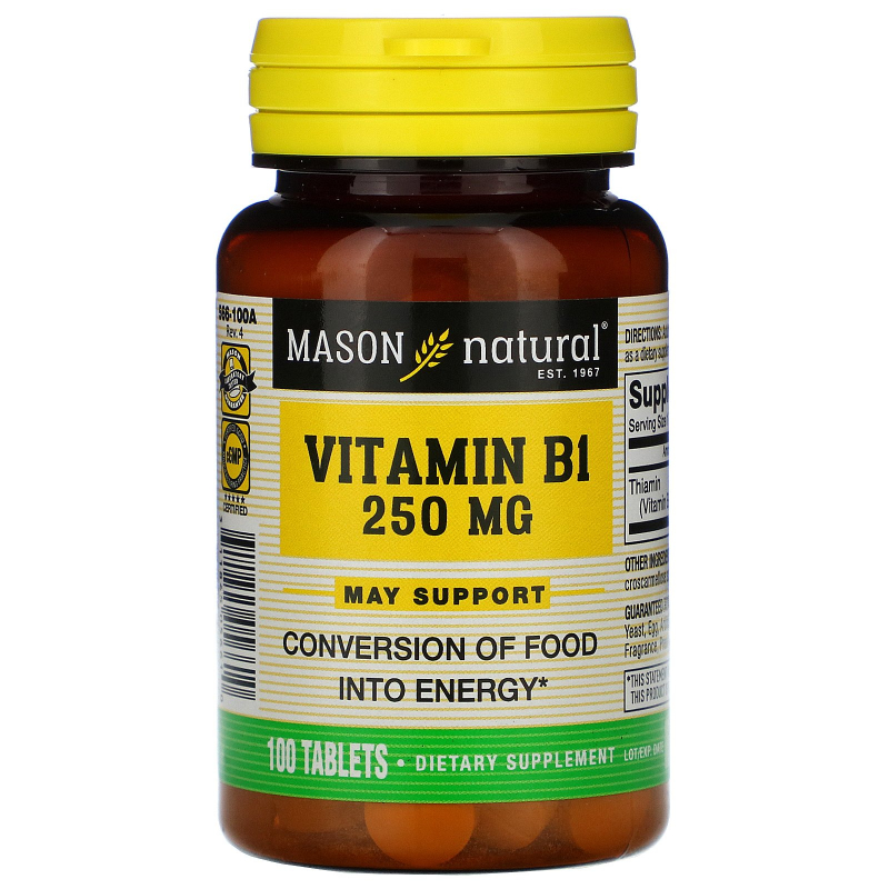 Mason Natural, Vitamin B-1, 250 mg, 100 Tablets