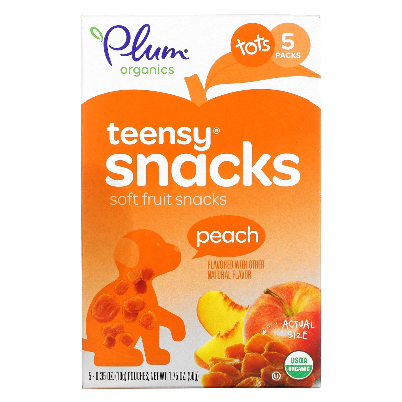 Plum Organics, Tots, Organic Teensy Soft Fruits Snacks, Peach, 12+ Months, 5 Packs, .35 oz (10 g) Each