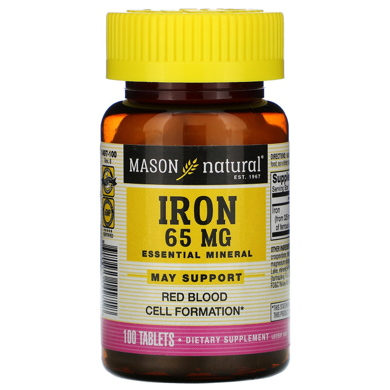 Mason Natural, Iron, Sugar Free, 65 mg, 100 Tablets