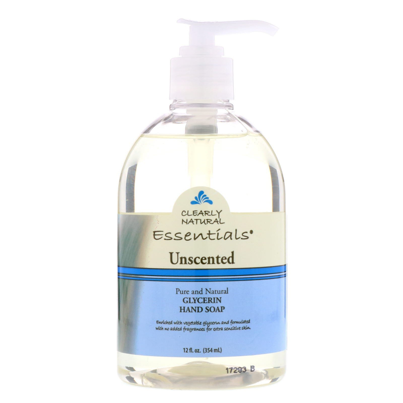 Clearly Natural, Essentials, Glycerine Hand Soap, Unscented, 12 fl oz (354 ml)