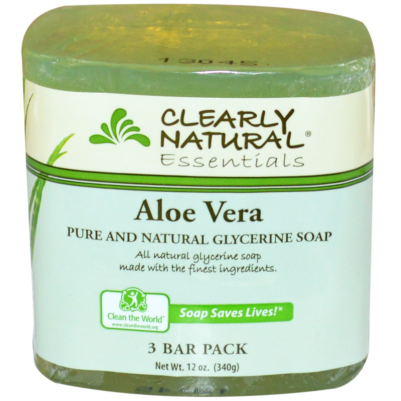 Clearly Natural, Essentials, Pure and Natural Glycerine Soap, Aloe Vera, 3 Bar Pack, 4 oz Each