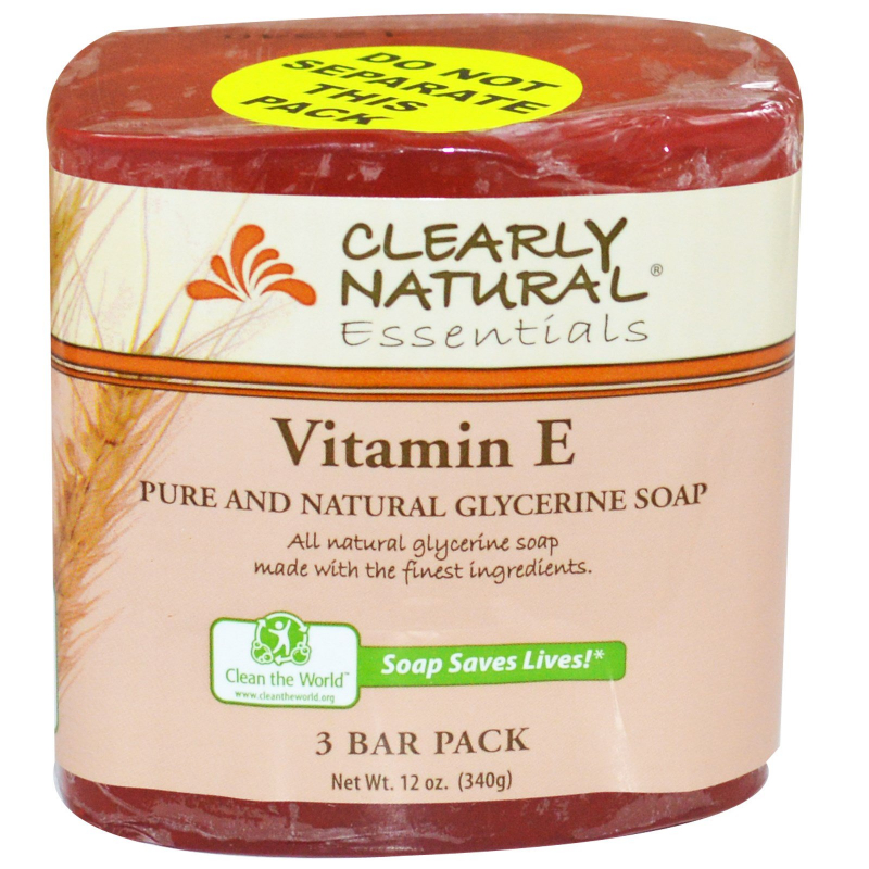 Clearly Natural, Essentials, Pure and Natural Glycerine Soap, Vitamin E, 3 Bar Pack, 4 oz Each