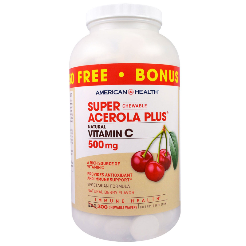 American Health, Super Chewable Acerola Plus, Natural Berry Flavor, 500 mg, 300 Chewable Wafers