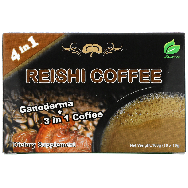 Longreen Corporation, 4 in 1 Reishi Coffee, 10 Sachets, (18 g) Each