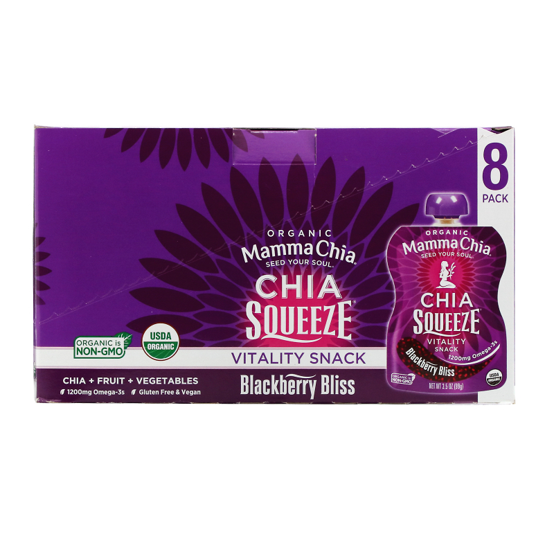 Mamma Chia, Organic Chia Squeeze Vitality Snack, Blackberry Bliss, 8 Pouches, 3.5 oz (99 g) Each