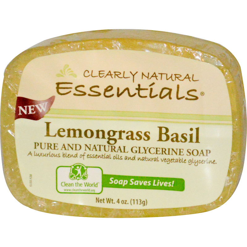 Clearly Natural, Essentials, Pure and Natural Glycerine Soap, Lemongrass Basil, 4 oz (113 g)