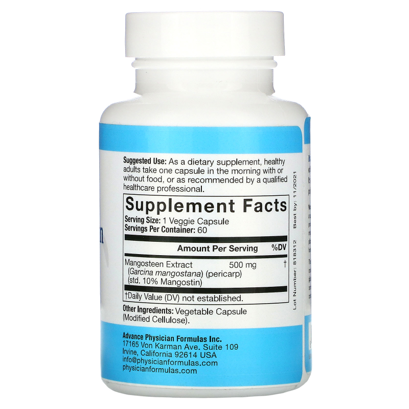 Advance Physician Formulas, Inc., Mangosteen, 500 mg, 60 Capsules