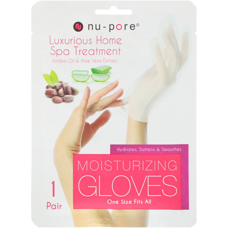 Nu-Pore, Moisturizing Gloves, Jojoba Oil & Aloe Vera Extract, 1 Pair