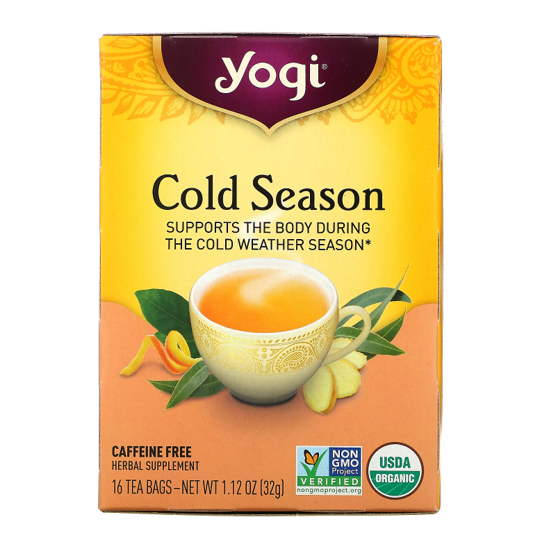 Yogi Tea, Organic, Cold Season, Caffeine Free, 16 Tea Bags, 1.12 oz (32 g)