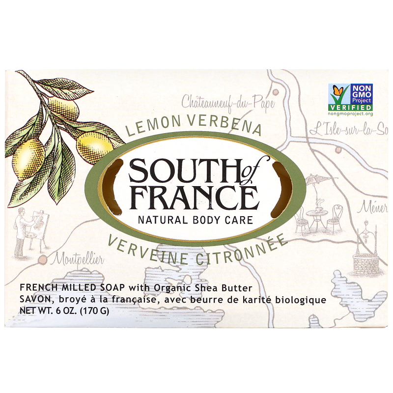 South of France, Lemon Verbena, French Milled Oval Soap with Organic Shea Butter, 6 oz (170 g)