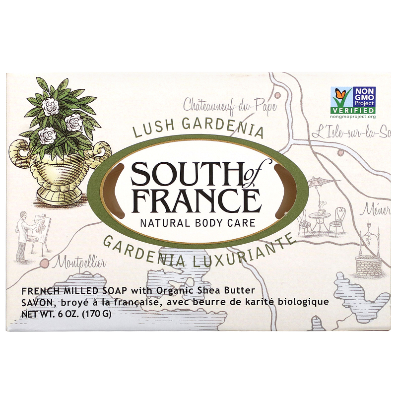 South of France, Lush Gardenia, French Milled Oval Soap with Organic Shea Butter, 6 oz (170 g)