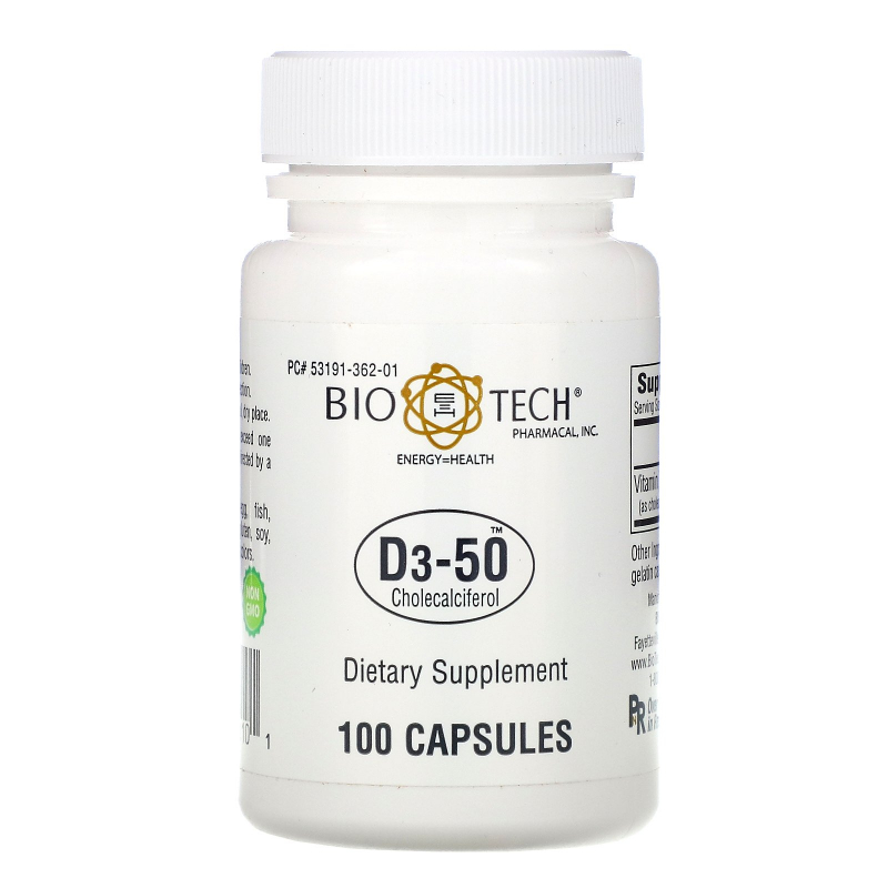 Bio Tech Pharmacal, Inc, D3-50, Cholecalciferol, 100 Capsules