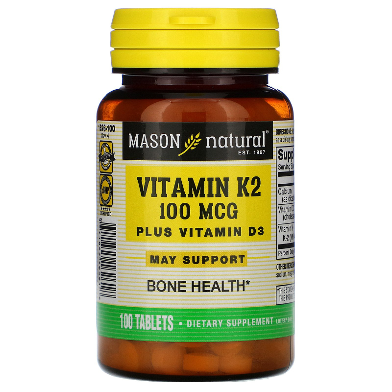 Mason Natural, Vitamin K2 Plus Vitamin D3, 100 mcg, 100 Tablets
