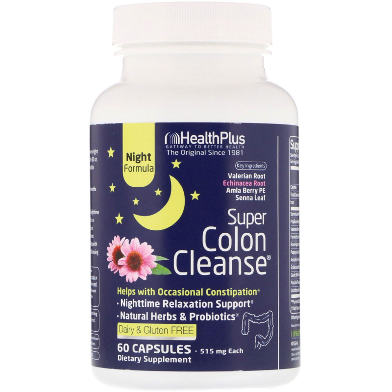 Health Plus, Super Colon Cleanse, Night, 500 mg, 90 Capsules