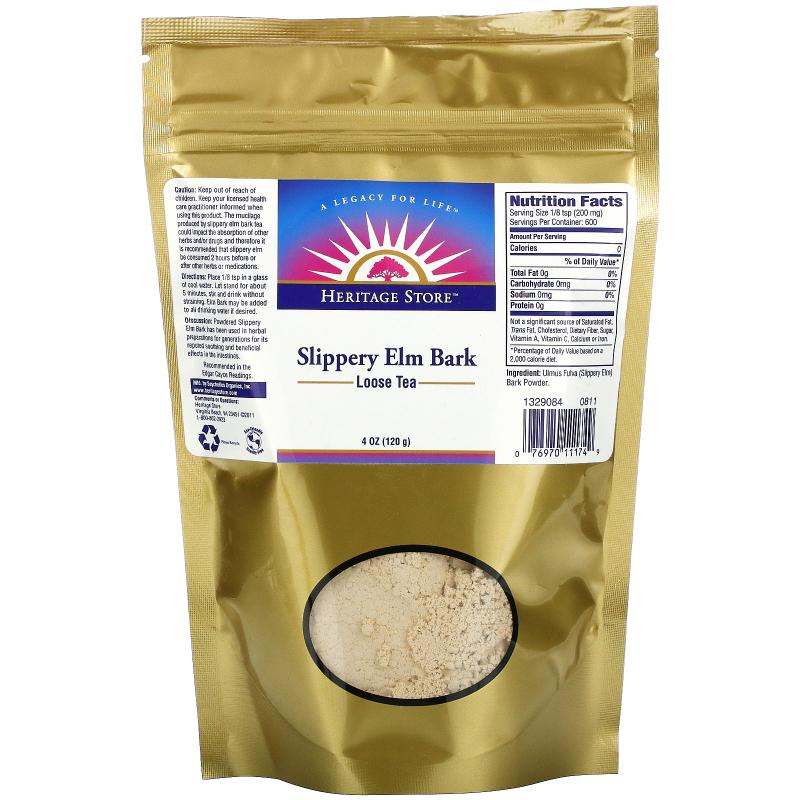 Heritage Store, Loose Tea, Slippery Elm Bark, Powder, 4 oz (120 g)