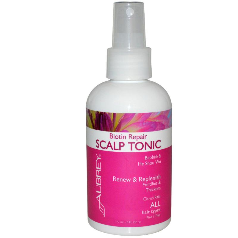 Aubrey Organics, Biotin Repair, Scalp Tonic, Citrus Rain, 6 fl oz (177 ml)