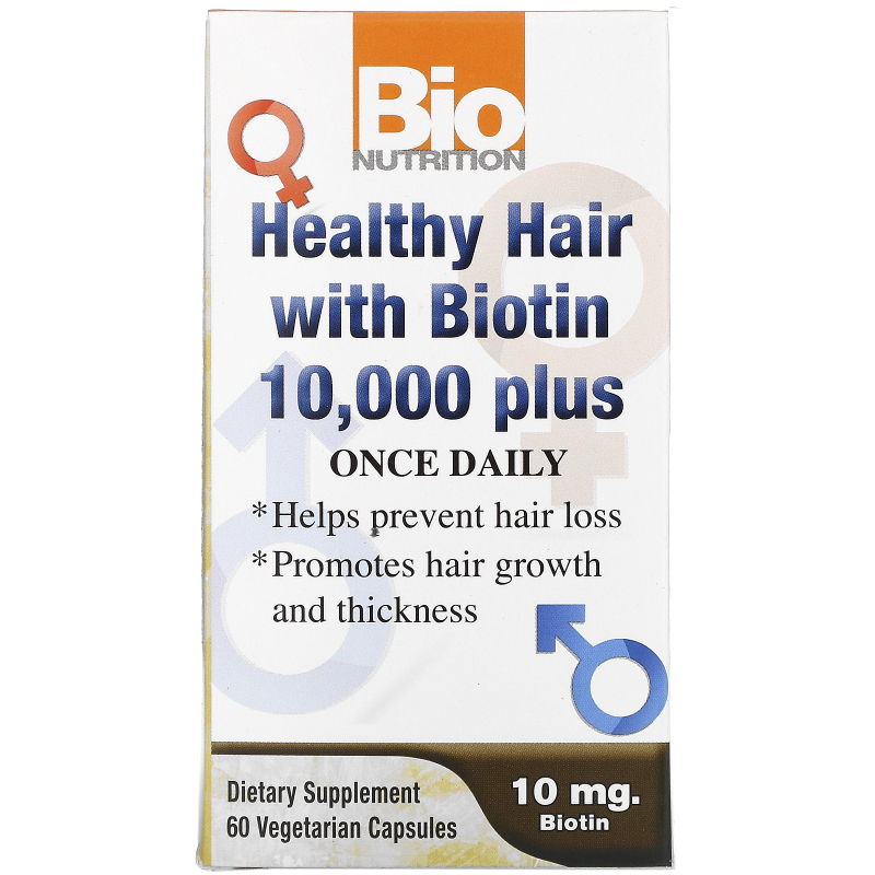 Bio Nutrition, Healthy Hair with Biotin 10,000 Plus, 60 Veggie Caps