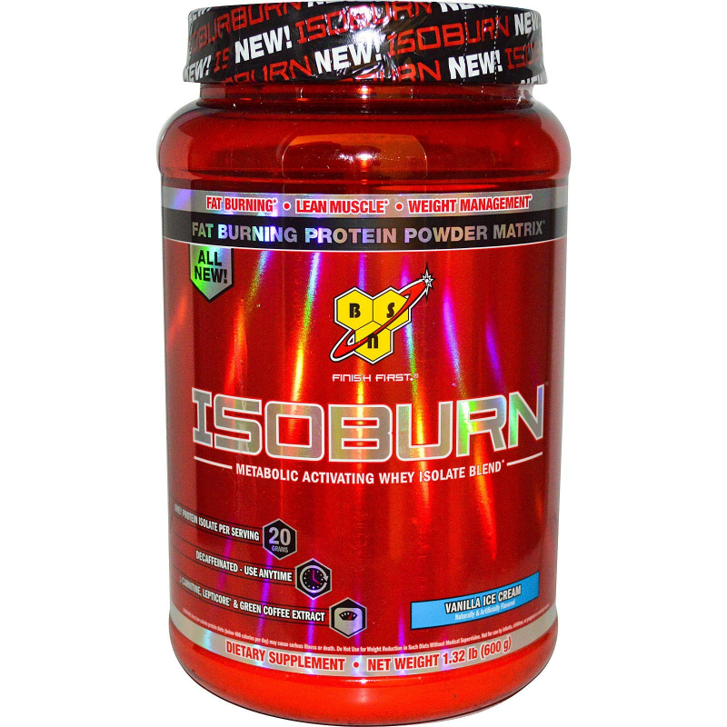 BSN, Isoburn, Metabolic Activating Whey Isolate Blend, Vanilla Ice Cream, 1.32 lb (600 g)