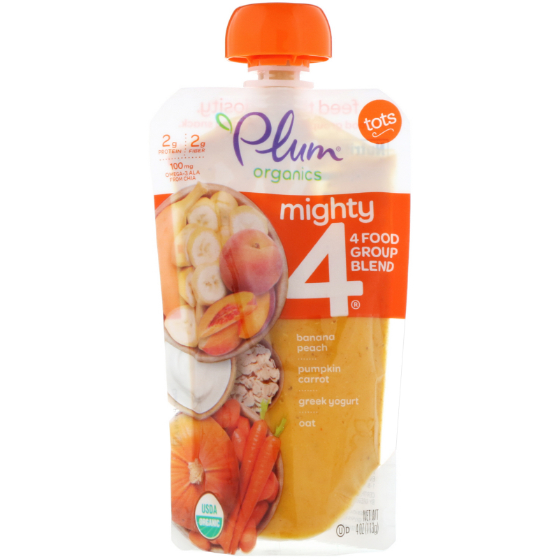 Plum Organics, Tots, Mighty 4, 4 Food Group Blend, Banana, Peach, Pumpkin, Carrot, Greek Yogurt, Oat, 4 oz (113 g)