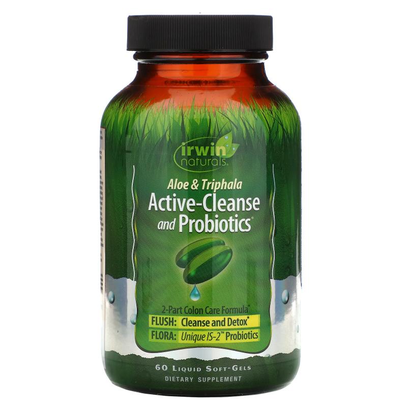 Irwin Naturals, Aloe & Triphala Active-Cleanse and Probiotics, 60 Liquid Soft-Gels