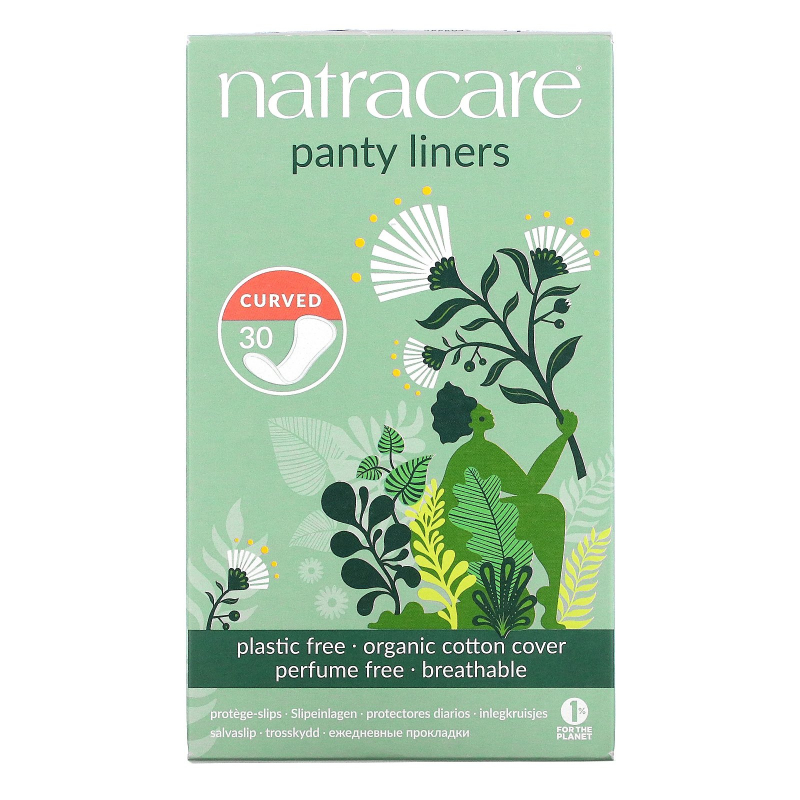 Natracare, Organic & Natural Panty Liners, Curved, 30 Liners