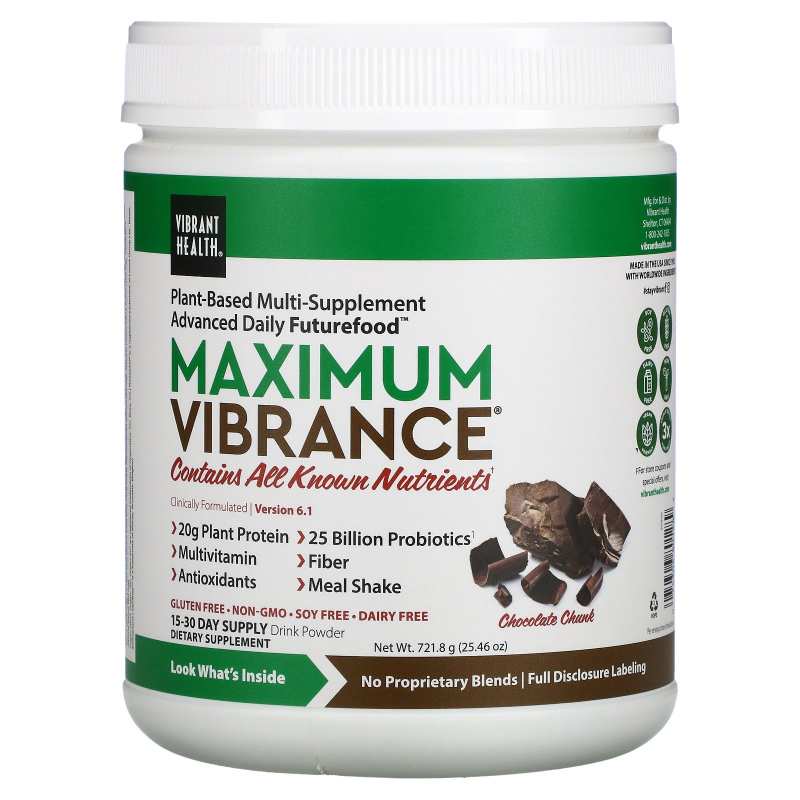Vibrant Health, Maximum Vibrance, Version 2.0, Chocolate Chunk, 1.6 lbs (724.5 g)