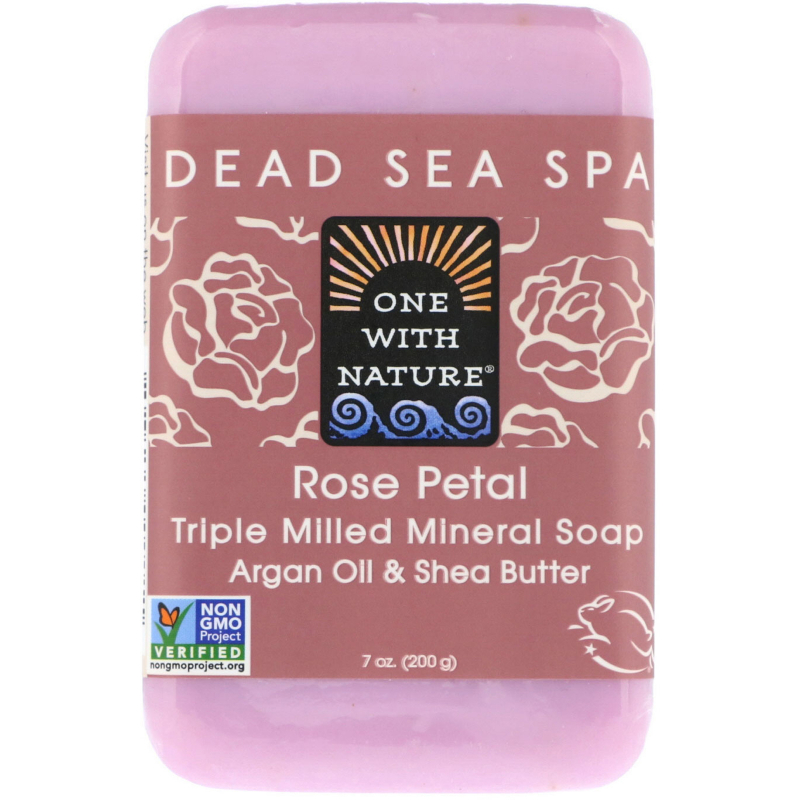 One with Nature, Triple Milled Mineral Soap Bar, Rose Petal, 7 oz (200 g)