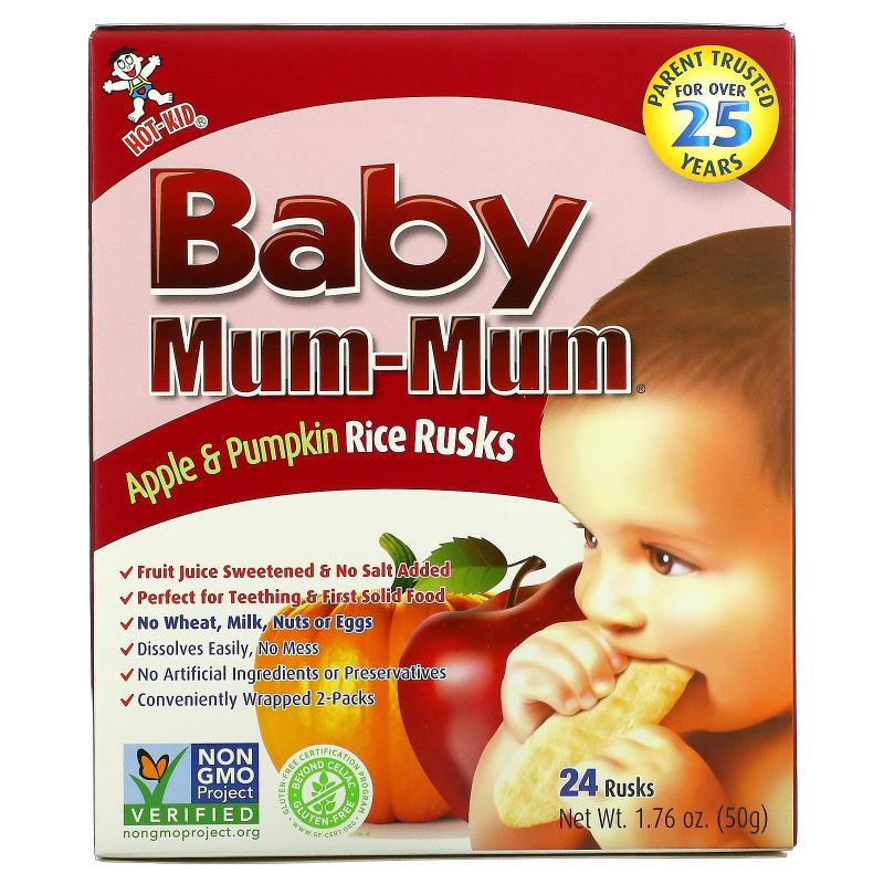 Hot Kid, Baby Mum-Mum, Apple & Pumpkin Rice Rusks, 24 Rusks, 1.76 oz (50 g)