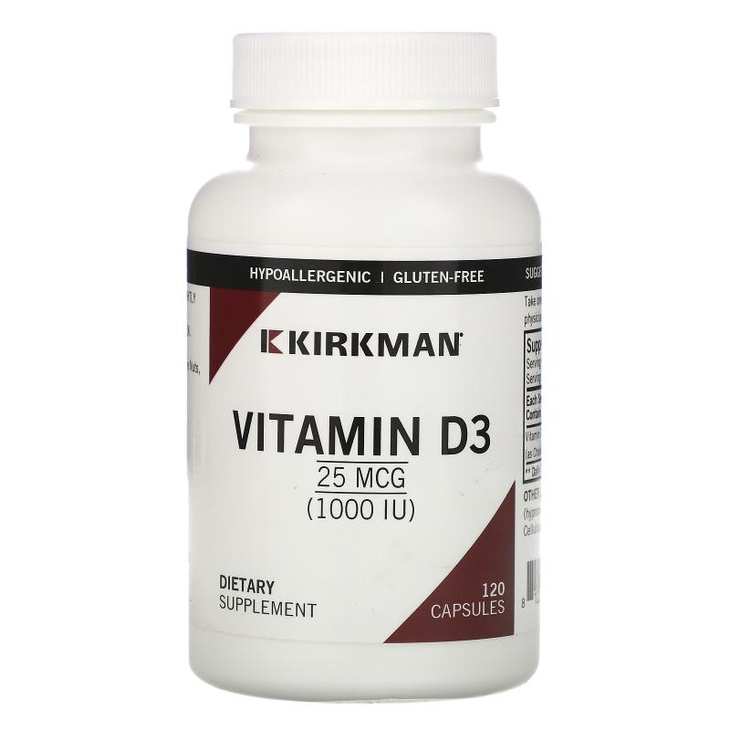 Kirkman Labs, Vitamin D-3, 1000 IU, 120 Capsules