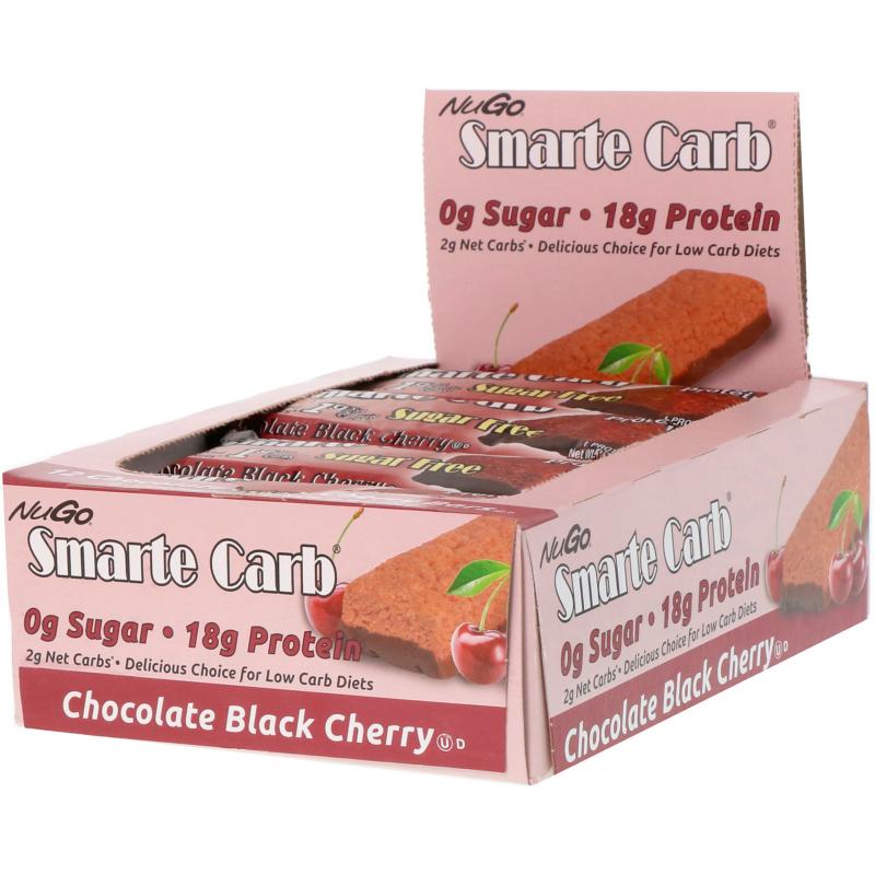 NuGo Nutrition, Smarte Carb, Chocolate Black Cherry, 12 Bars, 1.76 oz (50 g) Each